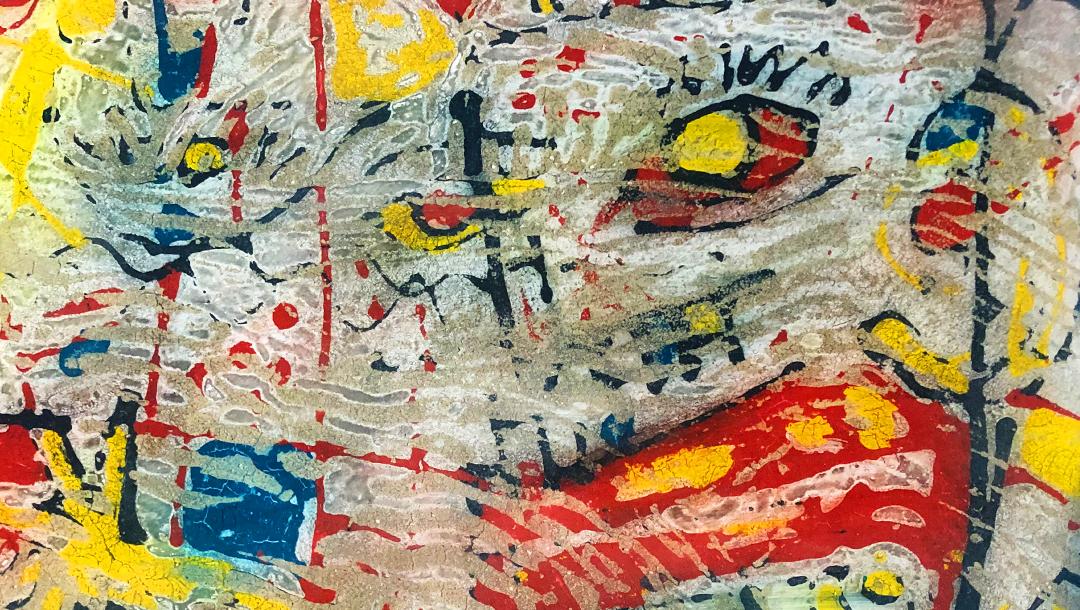 Abstract art modern venetian plaster